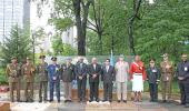 Fijian Prime Minister Hon. Voreqe Bainimarama with senior military officials during the wreath laying ceremony.