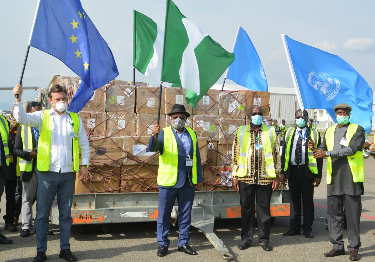HHumanitarian Coordinator of the UN in Nigeria, Mr Edwards Kallon; Nigeria's Minister of Health, Dr Osagie Ehanire and Head of the European Union Delegation to Nigeria and ECOWAS, Ambassador Ketil Karlsen, at the handing over ceremony held at the Nnamdi Azikiwe International Airport Abuja, on 20 June.